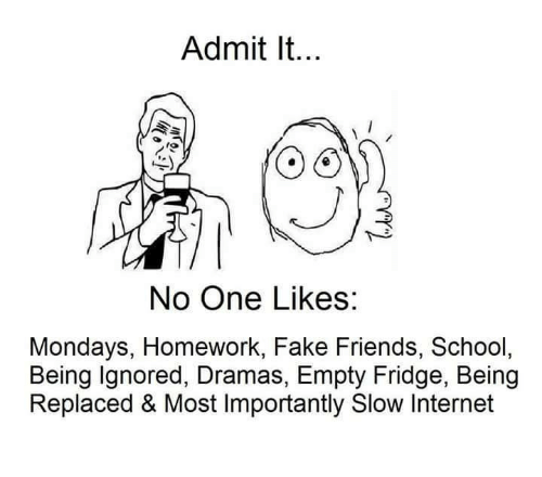 Admittingly: Admit It...  No One Likes:  Mondays, Homework, Fake Friends, School,  Being Ignored, Dramas, Empty Fridge, Being  Replaced & Most Importantly Slow Internet