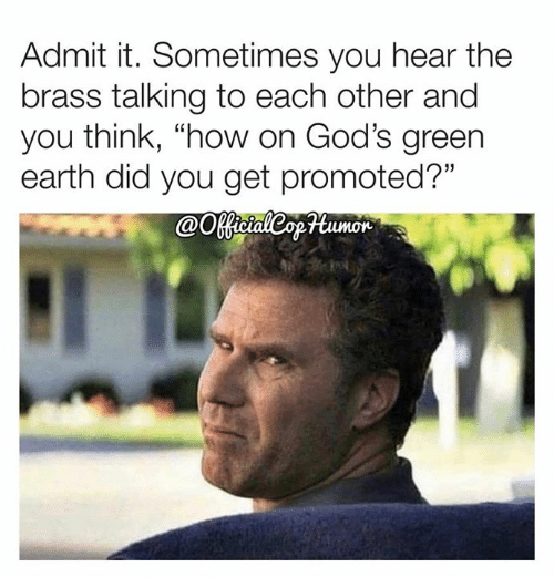 """Memes, Earth, and 🤖: Admit it. Sometimes you hear the  brass talking to each other and  you think, """"how on God's green  earth did you get promoted?""""  @Ootaleopumor"""