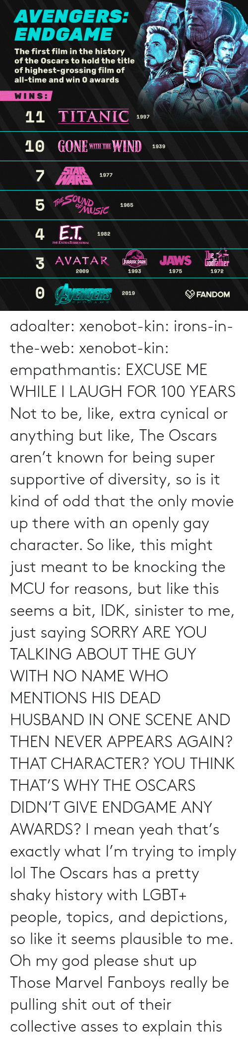 Husband: adoalter: xenobot-kin:   irons-in-the-web:  xenobot-kin:   empathmantis: EXCUSE ME WHILE I LAUGH FOR 100 YEARS Not to be, like, extra cynical or anything but like, The Oscars aren't known for being super supportive of diversity, so is it kind of odd that the only movie up there with an openly gay character. So like, this might just meant to be knocking the MCU for reasons, but like this seems a bit, IDK, sinister to me, just saying    SORRY ARE YOU TALKING ABOUT THE GUY WITH NO NAME WHO MENTIONS HIS DEAD HUSBAND IN ONE SCENE AND THEN NEVER APPEARS AGAIN? THAT CHARACTER? YOU THINK THAT'S WHY THE OSCARS DIDN'T GIVE ENDGAME ANY AWARDS?  I mean yeah that's exactly what I'm trying to imply lol The Oscars has a pretty shaky history with LGBT+ people, topics, and depictions, so like it seems plausible to me.     Oh my god please shut up    Those Marvel Fanboys really be pulling shit out of their collective asses to explain this