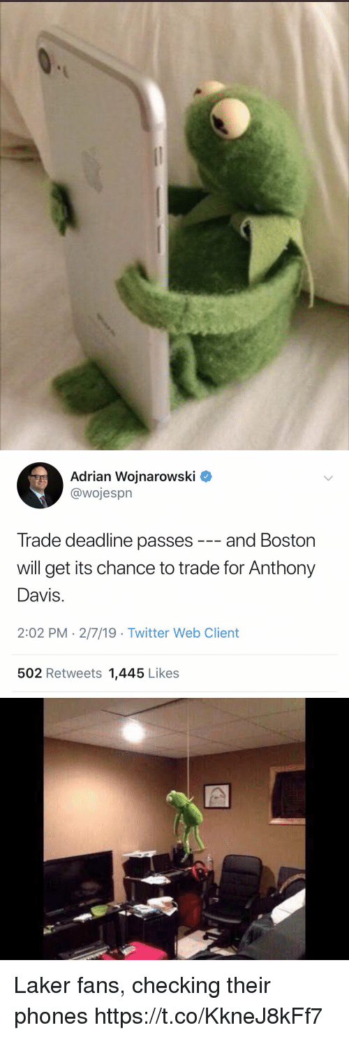 Sports, Twitter, and Anthony Davis: Adrian Wojnarowski ^  @wojesprn  Trade deadline passes -- and Boston  will get its chance to trade for Anthony  Davis  2:02 PM 2/7/19 -Twitter Web Client  502 Retweets 1,445 Likes Laker fans, checking their phones https://t.co/KkneJ8kFf7