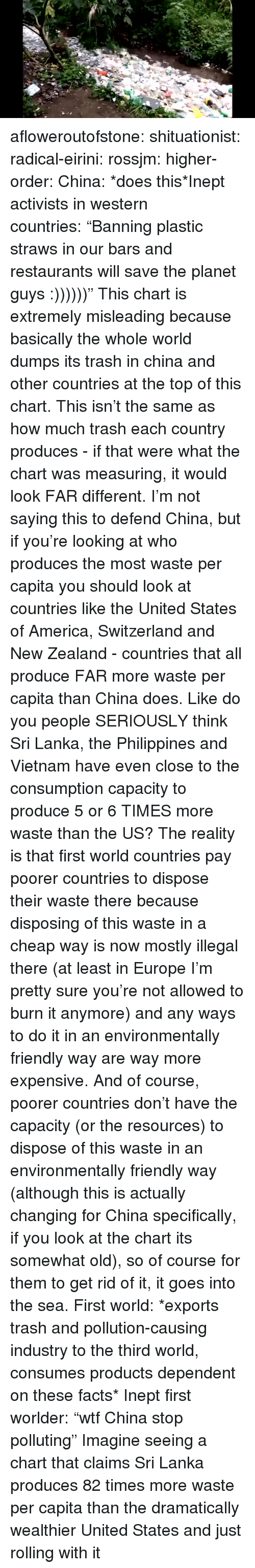 """states of america: afloweroutofstone:  shituationist:  radical-eirini:  rossjm:  higher-order:  China: *does this*Inept activists in western countries:""""Banning plastic straws in our bars and restaurants will save the planet guys :))))))""""  This chart is extremely misleading because basically the whole world dumps its trash in china and other countries at the top of this chart. This isn't the same as how much trash each country produces - if that were what the chart was measuring, it would look FAR different. I'm not saying this to defend China, but if you're looking at who produces the most waste per capita you should look at countries like the United States of America, Switzerland and New Zealand - countries that all produce FAR more waste per capita than China does. Like do you people SERIOUSLY think Sri Lanka, the Philippines and Vietnam have even close to the consumption capacity to produce 5 or 6 TIMES more waste than the US? The reality is that first world countries pay poorer countries to dispose their waste there because disposing of this waste in a cheap way is now mostly illegal there (at least in Europe I'm pretty sure you're not allowed to burn it anymore) and any ways to do it in an environmentally friendly way are way more expensive. And of course, poorer countries don't have the capacity (or the resources) to dispose of this waste in an environmentally friendly way (although this is actually changing for China specifically, if you look at the chart its somewhat old), so of course for them to get rid of it, it goes into the sea.  First world: *exports trash and pollution-causing industry to the third world, consumes products dependent on these facts* Inept first worlder: """"wtf China stop polluting""""  Imagine seeing a chart that claims Sri Lanka produces 82 times more waste per capita than the dramatically wealthier United States and just rolling with it"""