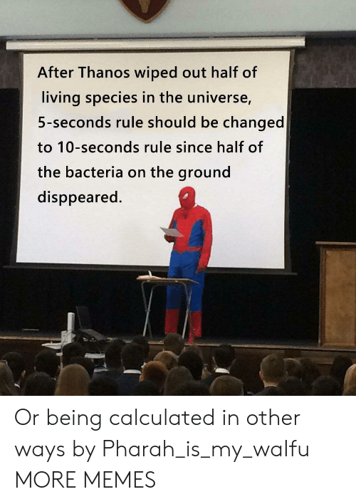 Calculated: After Thanos wiped out half of  living species in the universe,  5-seconds rule should be changed  to 10-seconds rule since half of  the bacteria on the ground  disppeared. Or being calculated in other ways by Pharah_is_my_waIfu MORE MEMES