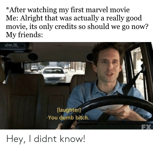 Bitch, Dumb, and Friends: *After watching my first marvel movie  Me: Alright that was actually a really good  movie, its only credits so should we go now?  My friends:  uren08  [laughter]  You dumb bitch.  FX Hey, I didnt know!