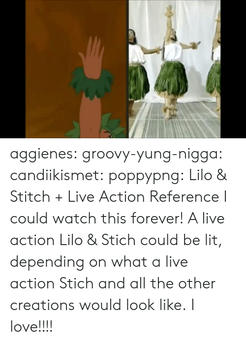 creations: aggienes: groovy-yung-nigga:  candiikismet:  poppypng: Lilo & Stitch + Live Action Reference  I could watch this forever!    A live action Lilo & Stich could be lit, depending on what a live action Stich and all the other creations would look like.   I love!!!!