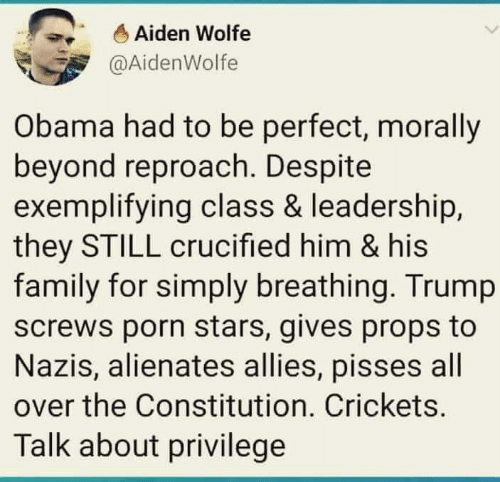props: Aiden Wolfe  @AidenWolfe  Obama had to be perfect, morally  beyond reproach. Despite  exemplifying class & leadership,  they STILL crucified him & his  family for simply breathing. Trump  screws porn stars, gives props to  Nazis, alienates allies, pisses all  over the Constitution. Crickets.  Talk about privilege