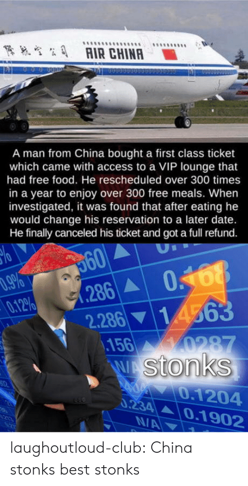 Club, Food, and Tumblr: AIR CHINA  A man from China bought a first class ticket  which came with access to a VIP lounge that  had free food. He rescheduled over 300 times  in a year to enjoy over 300 free meals. When  investigated, it was found that after eating he  would change his reservation to a later date.  He finally canceled his ticket and got a full refund.  560  286 0468  .9%  0.12%  2.28614563  156 0287  W Stonks  0.1204  0.234 0.1902  N/A laughoutloud-club:  China stonks best stonks
