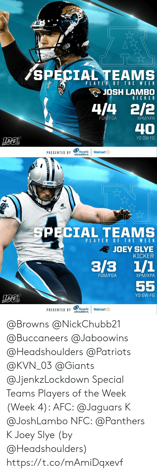 joey: AK  SPECIAL TEAMS  PLAYER OF THE WE EK  JOSH LAMBO  KICKER  4/4 2/2  FGM/FGA  ХРМ/ХРА  40  YD GW FG  NFL  PRESENTED BY head&  shoulders  Walmart   PENTGERS  SEASONS  SPECIAL TEAMS  PLAYER OF THE WEEK  RJOEY SLYE  KICKER  3/3 1/1  FGM/FGA  ХРМ/ХРА  55  YD GW FG  NFL  PRESENTED BY head&  shoulders  Walmart @Browns @NickChubb21 @Buccaneers @Jaboowins @Headshoulders @Patriots @KVN_03 @Giants @JjenkzLockdown Special Teams Players of the Week (Week 4):   AFC: @Jaguars K @JoshLambo NFC: @Panthers K Joey Slye   (by @Headshoulders) https://t.co/mAmiDqxevf
