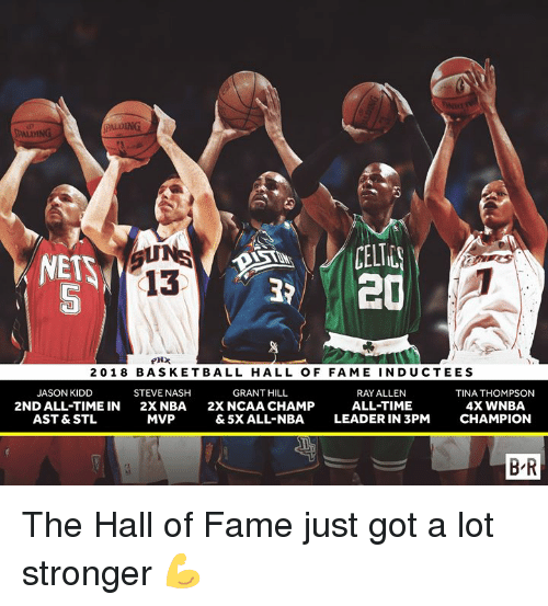 WNBA (Womens National Basketball Association): ALDING  PALDING  CELT  20  13  5  20 18 BASKETBALL HALL OF FAME INDUCTEES  JASON KIDD  2ND ALL-TIME IN  AST & STL  STEVE NASH  2XNBA  MVP  GRANT HILL  2X NCAA CHAMP  & 5X ALL-NBA  RAY ALLEN  ALL-TIME  LEADER IN 3PM  TINA THOMPSON  4X WNBA  CHAMPION  B'R The Hall of Fame just got a lot stronger 💪