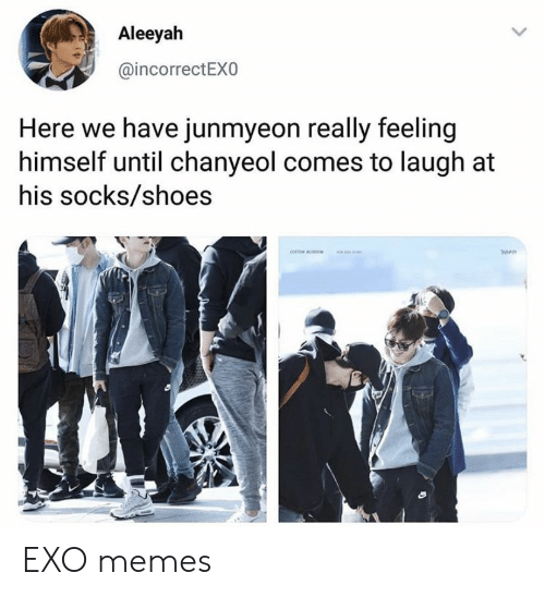Memes, Shoes, and Exo: Aleeyah  @incorrectEXO  Here we have junmyeon really feeling  himself until chanyeol comes to laugh at  his socks/shoes EXO memes