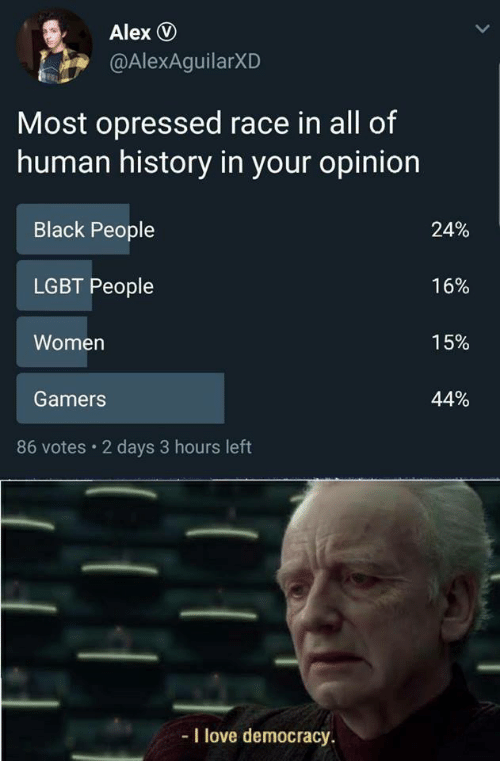 Lgbt, Love, and Black: Alex D  @AlexAguilarXD  Most opressed race in all of  human history in your opinion  Black People  LGBT People  Women  Gamers  24%  16%  15%  44%  86 votes 2 days 3 hours left  -I love democracy.