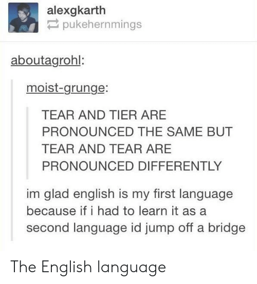 Learn It: alexgkarth  pukehernmings  aboutagrohl:  moist-grunge:  TEAR AND TIER ARE  PRONOUNCED THE SAME BUT  TEAR AND TEAR ARE  PRONOUNCED DIFFERENTLY  im glad english is my first language  because if i had to learn it as a  second language id jump off a bridge The English language