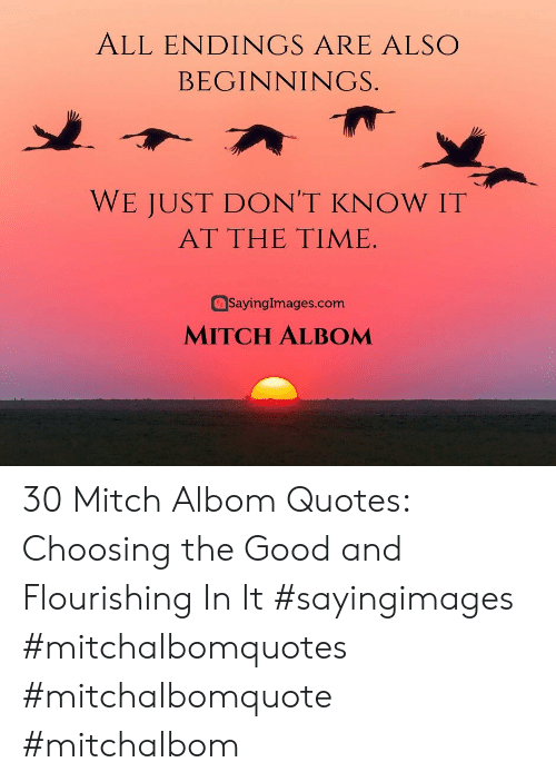 Good, Quotes, and Time: ALL ENDINGS ARE ALSO  BEGINNINGS.  WE JUST DON'T KNOW IT  AT THE TIME  SayingImages.com  MITCH ALBOM 30 Mitch Albom Quotes: Choosing the Good and Flourishing In It #sayingimages #mitchalbomquotes #mitchalbomquote #mitchalbom