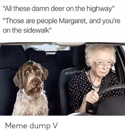 """Deer, Meme, and Highway: """"All these damn deer on the highway""""  """"Those are people Margaret, and you're  on the sidewalk""""  @MasiPopal Meme dump V"""