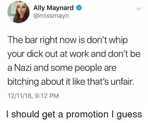 Bitching: Ally Maynard  @missmayn  The bar right now is don't whip  your dick out at work and don't be  a Nazi and some people are  bitching about it like that's unfair.  12/11/18, 9:12 PM I should get a promotion I guess