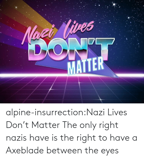 Between: alpine-insurrection:Nazi Lives Don't Matter   The only right nazis have is the right to have a Axeblade between the eyes