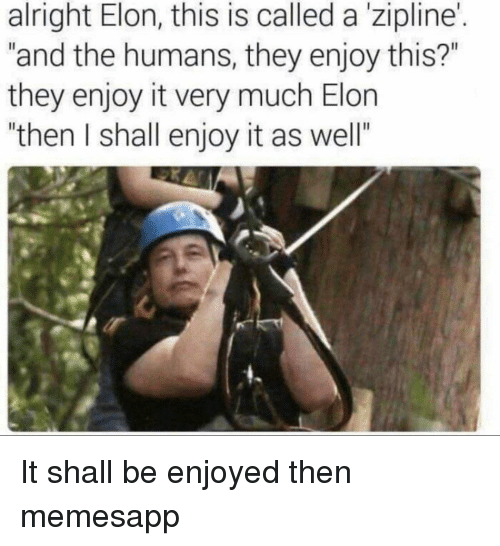 "Memes, Alright, and 🤖: alright Elon, this is called a'zipline'.  ""and the humans, they enjoy this?""  they enjoy it very much Elon  ""then I shall enjoy it as well""  I. It shall be enjoyed then memesapp"