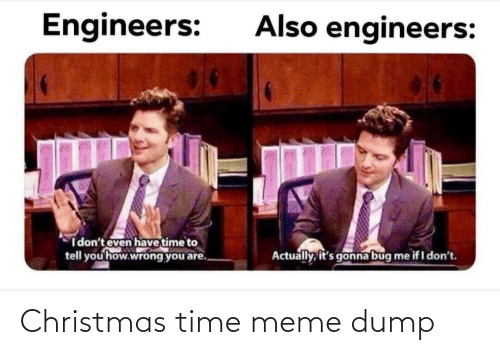 i dont even: Also engineers:  Engineers:  I don't even have time to  tell you how.wrong you are.  Actually, it's gonna bug  me if I don't. Christmas time meme dump