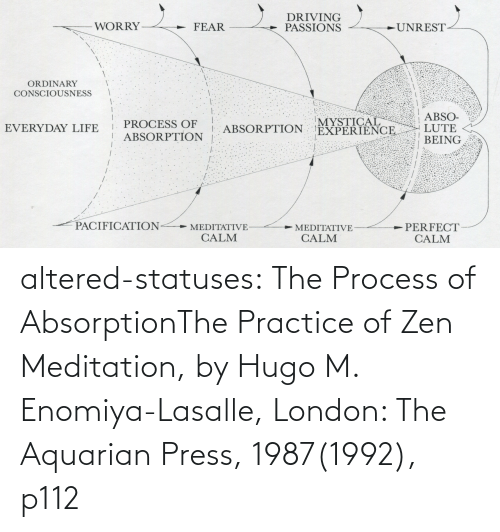 M: altered-statuses:  The Process of AbsorptionThe Practice of Zen Meditation, by Hugo M. Enomiya-Lasalle, London: The Aquarian Press, 1987(1992), p112