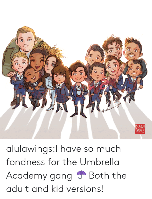 Tumblr, Gang, and Academy: alulawihgs  ALUCA  WINGS  Qalulawings alulawings:I have so much fondness for the Umbrella Academy gang ☂ Both the adult and kid versions!