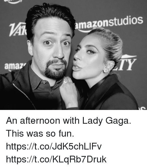 Lady Gaga: amazonstudios  amaz  TY An afternoon with Lady Gaga.  This was so fun. https://t.co/JdK5chLlFv https://t.co/KLqRb7Druk
