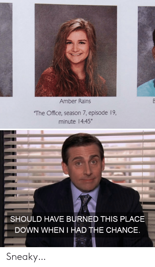 """Season 7: Amber Rains  The Office, season 7, episode 19,  minute 14:45""""  SHOULD HAVE BURNED THIS PLACE  DOWN WHEN I HAD THE CHANCE Sneaky…"""