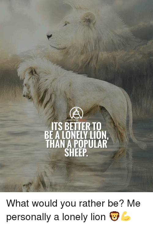 would you rather: AMBITION  ITS BETTER TO  BE A LONELY LION.  THAN A POPULAR  SHEEP What would you rather be? Me personally a lonely lion 🦁💪
