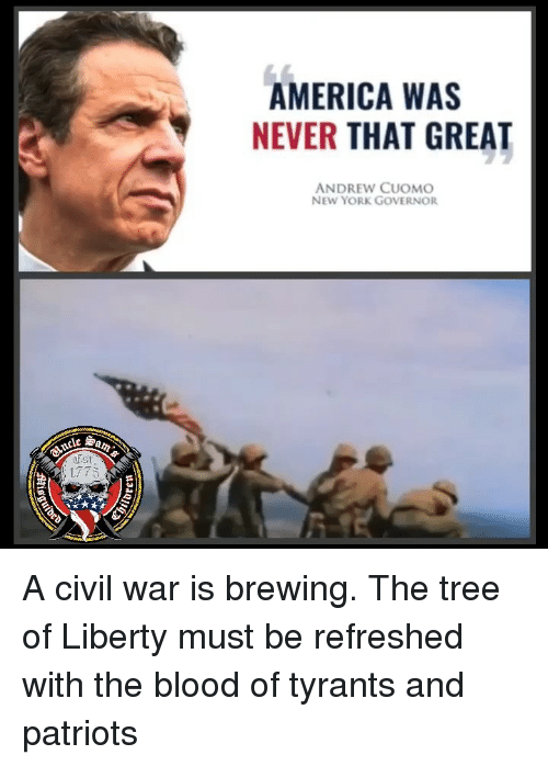 America, Memes, and New York: AMERICA WAS  NEVER THAT GREAT  ANDREW CUOMO  NEW YORK GOVERNOR  罗am:  Est A civil war is brewing. The tree of Liberty must be refreshed with the blood of tyrants and patriots