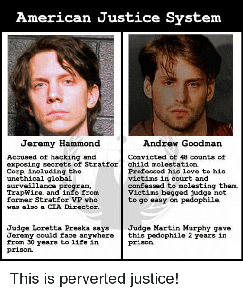 Pedophillic: American Justice System  Jeremy Hammond  Andrew Goodman  Accused of hacking and  Convicted of 48 counts of  exposing secrets of Stratfor  child molestation.  Professed his love to his  Corp. including the  victims in court and  unethical global  surveillance program.  confessed to molesting them.  TrapWire. and info from  Victims begged judge not  former Stratfor VP who  to go easy on pedophile.  was also a CIA Director.  Judge Loretta Preska says  Judge Martin Murphy gave  Jeremy could face anywhere  this pedophile 2 years in  prison.  from 30 years to life in  prison. This is perverted justice!
