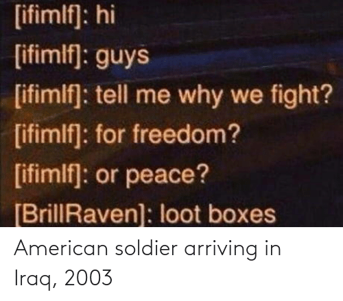 American: American soldier arriving in Iraq, 2003