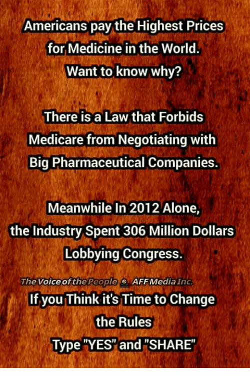 """Medicare: Americans pay the Highest Prices  for Medicine in the World.  Want to know why?  There is a Law that Forbids  Medicare from Negotiating with  Big Pharmaceutical Companies.  Meanwhile In 2012 Alone,  the Industry Spent 306 Million Dollars  Lobbying Congress.  The Voice ofthe People  AFF Media Ind  If you Think it's Time to Change  the Rules  Type YES"""" and """"SHARE"""