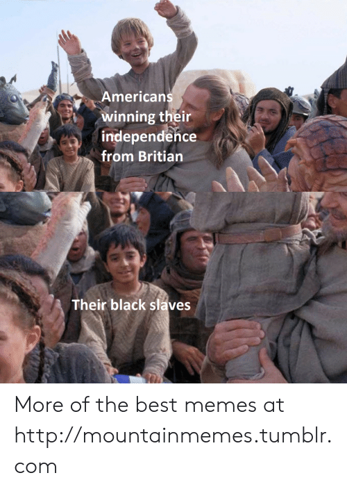 The Best Memes: Americans  winning their  independence  from Britian  Their black slaves More of the best memes at http://mountainmemes.tumblr.com