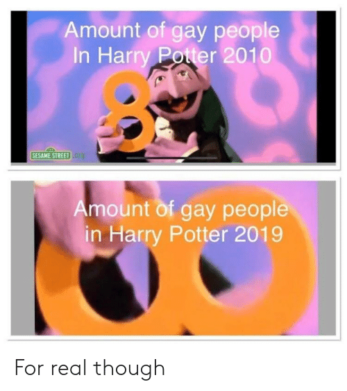 Amount of Gay People in Harry Poter 2010 SESAME STREET
