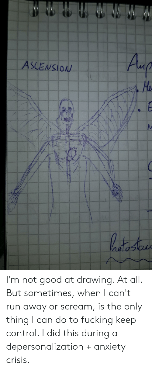 Fucking, Run, and Scream: Amp  ASLENSION  E  hata te I'm not good at drawing. At all. But sometimes, when I can't run away or scream, is the only thing I can do to fucking keep control. I did this during a depersonalization + anxiety crisis.