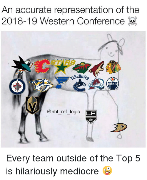 Logic, Mediocre, and Memes: An accurate representation of the  2018-19 Western Conference-  STARS  @nhl_ref_logic LF Every team outside of the Top 5 is hilariously mediocre 🤪
