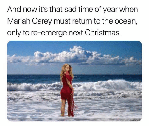 Christmas, Mariah Carey, and Ocean: And now it's that sad time of year when  Mariah Carey must return to the ocean,  only to re-emerge next Christmas.