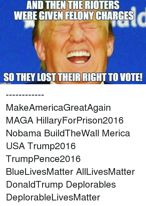 Memes, 🤖, and Charge: AND THEN THE RIOTERS  WERE GIVEN FELONY CHARGES  SO THEY LOST THEIR RIGHT TO VOTE! ------------ MakeAmericaGreatAgain MAGA HillaryForPrison2016 Nobama BuildTheWall Merica USA Trump2016 TrumpPence2016 BlueLivesMatter AllLivesMatter DonaldTrump Deplorables DeplorableLivesMatter