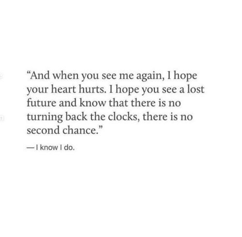 "Future, Lost, and Heart: ""And when you see me again, I hope  your heart hurts. I hope you see a lost  future and know that there is no  turning back the clocks, there is no  second chance.""  -I know I do."