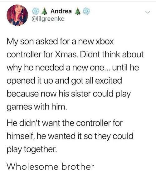 My Son: Andrea  @lilgreenkc  My son asked for a new xbox  controller for Xmas. Didnt think about  why he needed a new one... until he  opened it up and got all excited  because now his sister could play  games with him.  He didn't want the controller for  himself, he wanted it so they could  play together. Wholesome brother