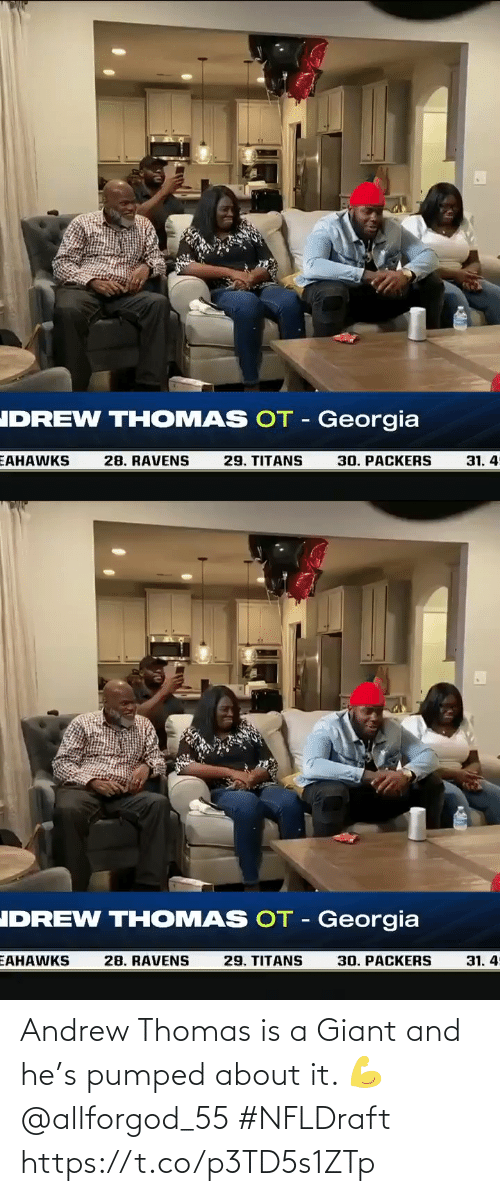 Giant: Andrew Thomas is a Giant and he's pumped about it. 💪 @allforgod_55 #NFLDraft https://t.co/p3TD5s1ZTp