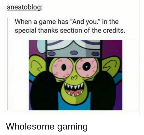 """Game, Wholesome, and Gaming: aneatoblog:  When a game has """"And you."""" in the  special thanks section of the credits.  2 Wholesome gaming"""