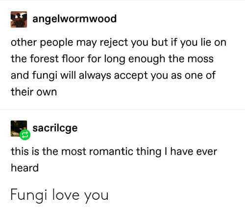 Love, The Forest, and Forest: angelwormwood  other people may reject you but if you lie on  the forest floor for long enough the moss  and fungi will always accept you as one of  their own  sacrilcge  this is the most romantic thing I have ever  heard Fungi love you