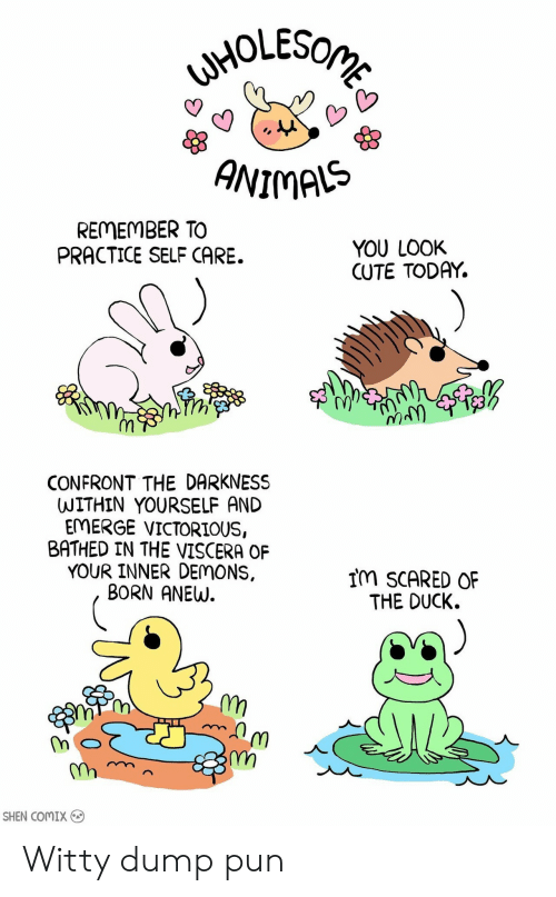 Cute, Duck, and Today: ANIMAS  REMEMBER TO  PRACTICE SELF CARE.  YOU LOOK  CUTE TODAY.  1y  CONFRONT THE DARKNESS  WITHIN YOURSELF AND  EMERGE VICTORIOUS,  BATHED IN THE VISCERA OF  YOUR INNER DEMONS,  BORN ANEW.  IM SCARED OF  THE DUCK.  스  m,  SHEN COMIX Witty dump pun