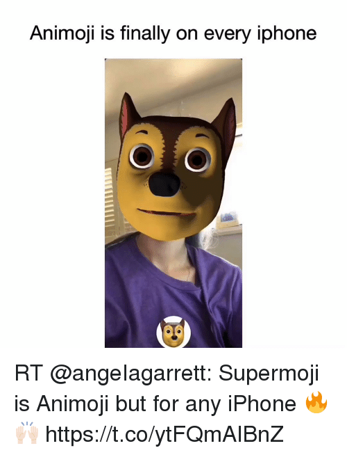 Iphone, Memes, and 🤖: Animoji is tinally on every lphone RT @angeIagarrett: Supermoji is Animoji but for any iPhone 🔥🙌🏻 https://t.co/ytFQmAIBnZ