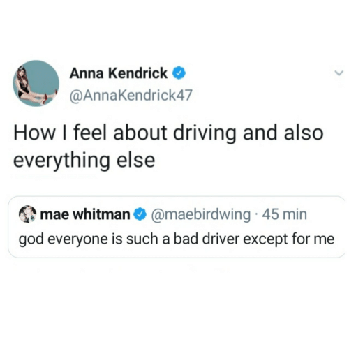 everyone: Anna Kendrick  @AnnaKendrick47  How I feel about driving and also  everything else  mae whitman O @maebirdwing · 45 min  god everyone is such a bad driver except for me