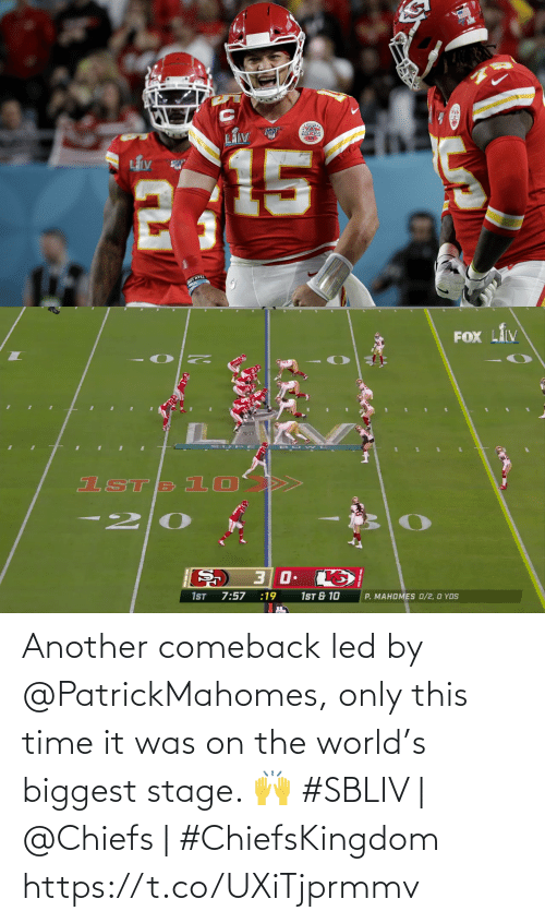 World: Another comeback led by @PatrickMahomes, only this time it was on the world's biggest stage. 🙌   #SBLIV | @Chiefs | #ChiefsKingdom https://t.co/UXiTjprmmv