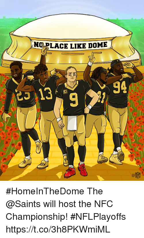 Memes, New Orleans Saints, and 🤖: )  ANT-LACE LIKE DOME  94 #HomeInTheDome  The @Saints will host the NFC Championship! #NFLPlayoffs https://t.co/3h8PKWmiML