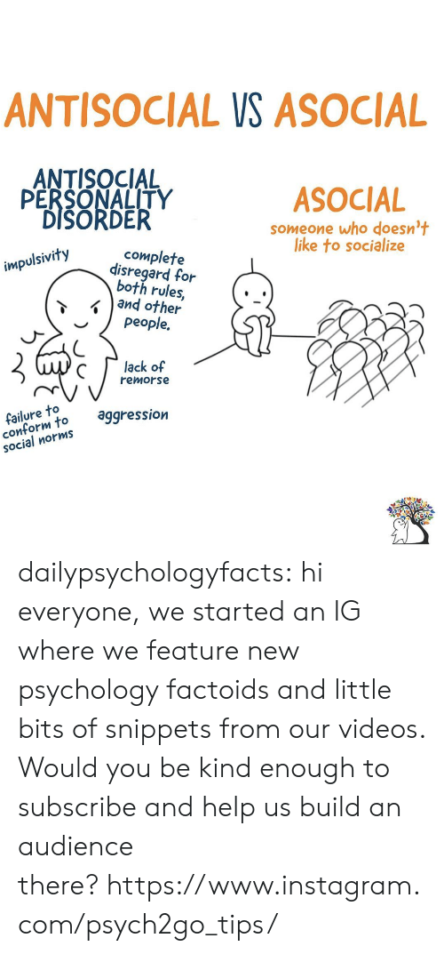 Instagram, Target, and Tumblr: ANTISOCIAL VS ASOCIAL  ANTISOCIAL  PERSONALITY  DISORDER  ASOCIAL  Someone who doesn't  like to socialize  complete  disregard for  both rules,  and other  people.  impulsivity  lack of  remorse  failure to  conform to  social norms  aggression dailypsychologyfacts:  hi everyone, we started an IG where we feature new psychology factoids and little bits of snippets from our videos. Would you be kind enough to subscribe and help us build an audience there?https://www.instagram.com/psych2go_tips/