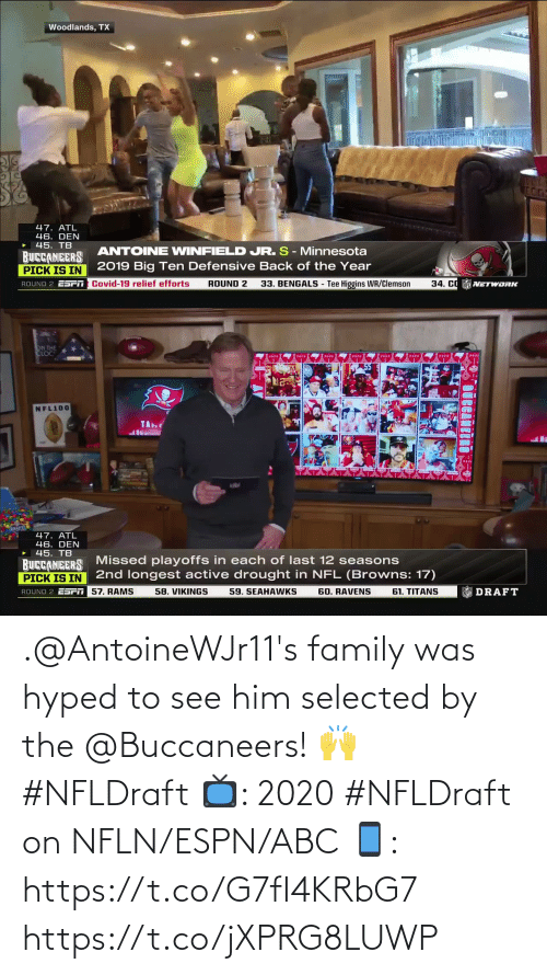 Selected: .@AntoineWJr11's family was hyped to see him selected by the @Buccaneers! 🙌 #NFLDraft   📺: 2020 #NFLDraft on NFLN/ESPN/ABC 📱: https://t.co/G7fI4KRbG7 https://t.co/jXPRG8LUWP