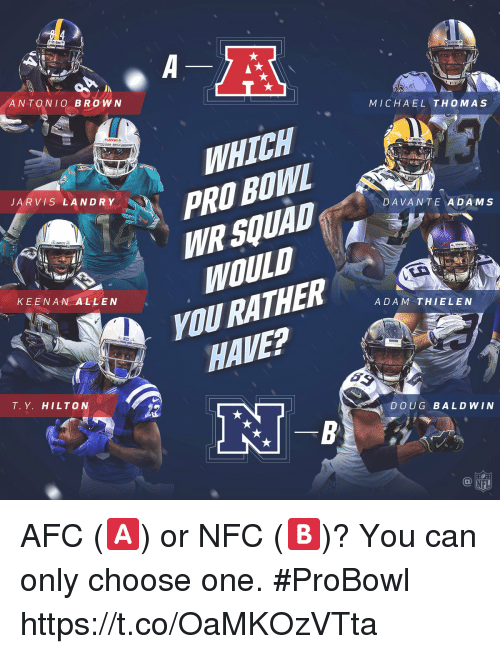 Choose One, Doug, and Memes: ANTONIO BROWN  MICHAEL THOMAS  WHICH  PRO BOWL  JARVIS LANDR Yi  DAVANTE ADAMS  WOULD  nURATHER  HAVE?  KEENAN ALLEN  ADAM THIELEN  T. Y. HILTON  DOUG BALDWIN  NFL AFC (🅰️) or NFC (🅱️)?  You can only choose one. #ProBowl https://t.co/OaMKOzVTta