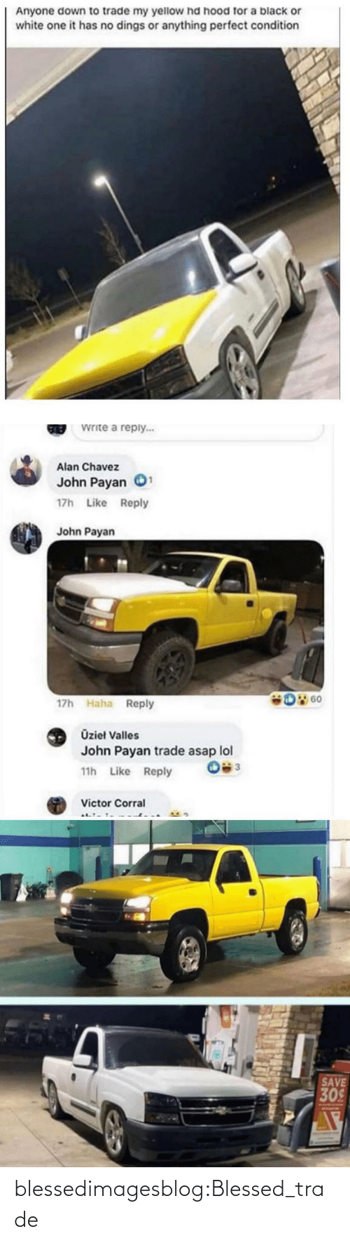 Blessed, Lol, and Tumblr: Anyone down to trade my yellow hd hood for a black or  white one it has no dings or anything perfect condition  Write a reply...  GREB  Alan Chavez  John Payan  17h Like Reply  John Payan  D 60  17h Haha Reply  Üzieł Valles  John Payan trade asap lol  11h Like Reply  Victor Corral  SAVE  309 blessedimagesblog:Blessed_trade